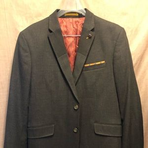 Ted Baker London Grey Blazer with lapel pin size 4